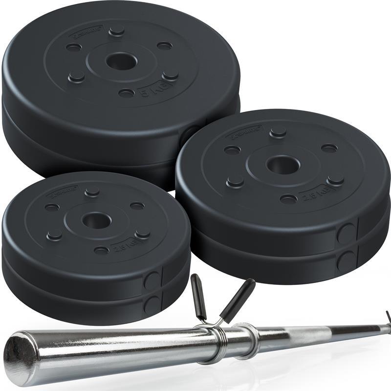 30 kg Langhantelset Kunststoff 2x2,5 2x5 2x7,5 kg