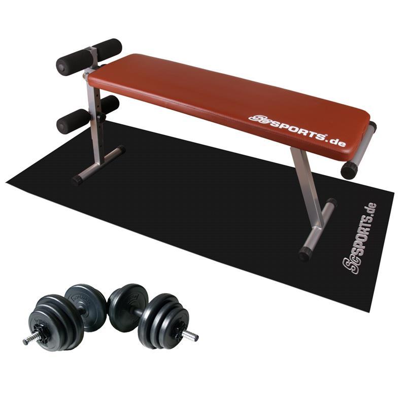 Sit-Up Hantelbank mit 20 kg Hantelset und Unterlegmatte