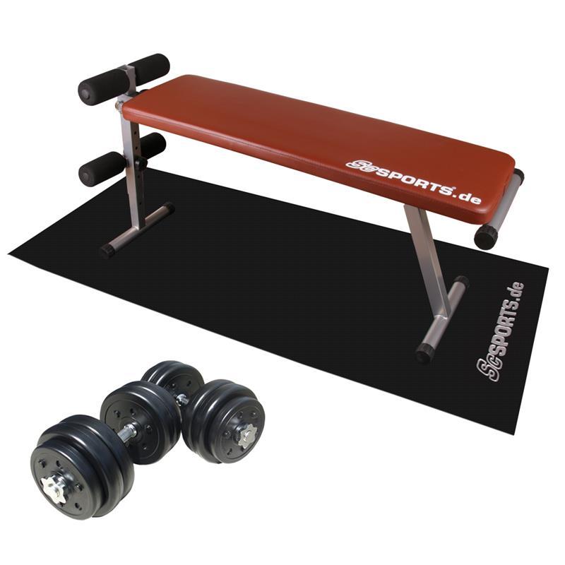 Sit-Up Hantelbank mit 30 kg Hantelset Luxus mit Unterlegmatte