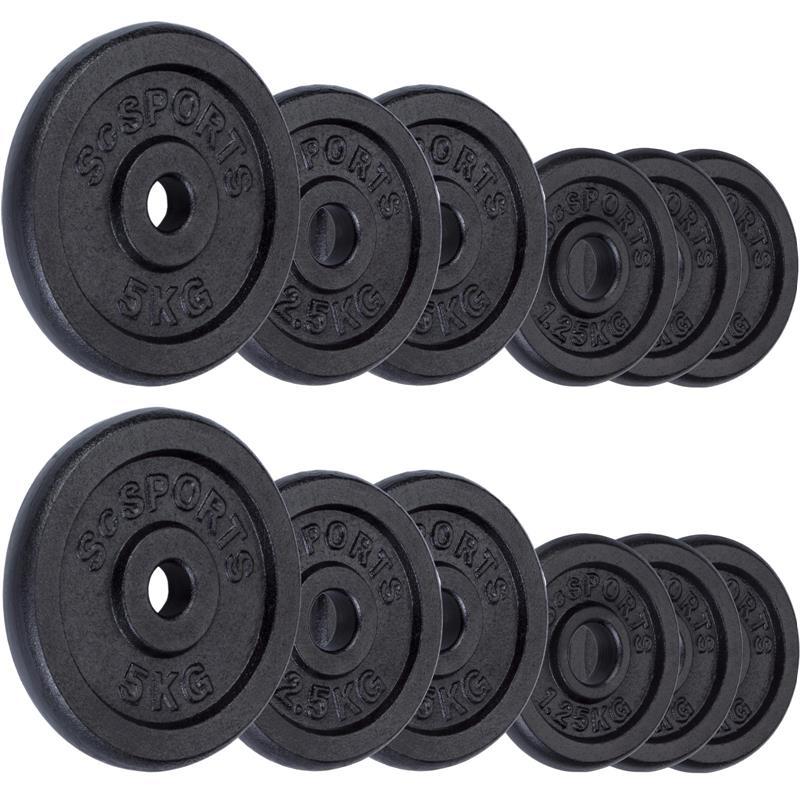 27,5 kg Hantelscheibenset Gusseisen 30 mm 6x1,25 4x2,5 2x5 kg