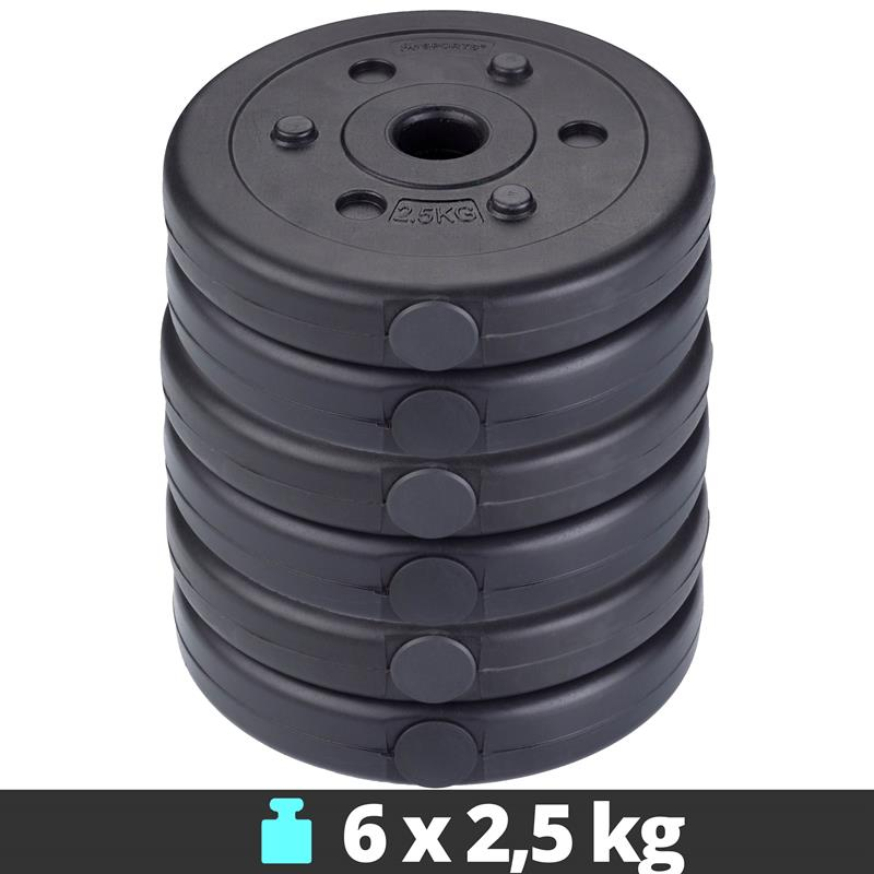 15 kg Hantelscheibenset Kunststoff 6x2,5 kg Ø 30 mm