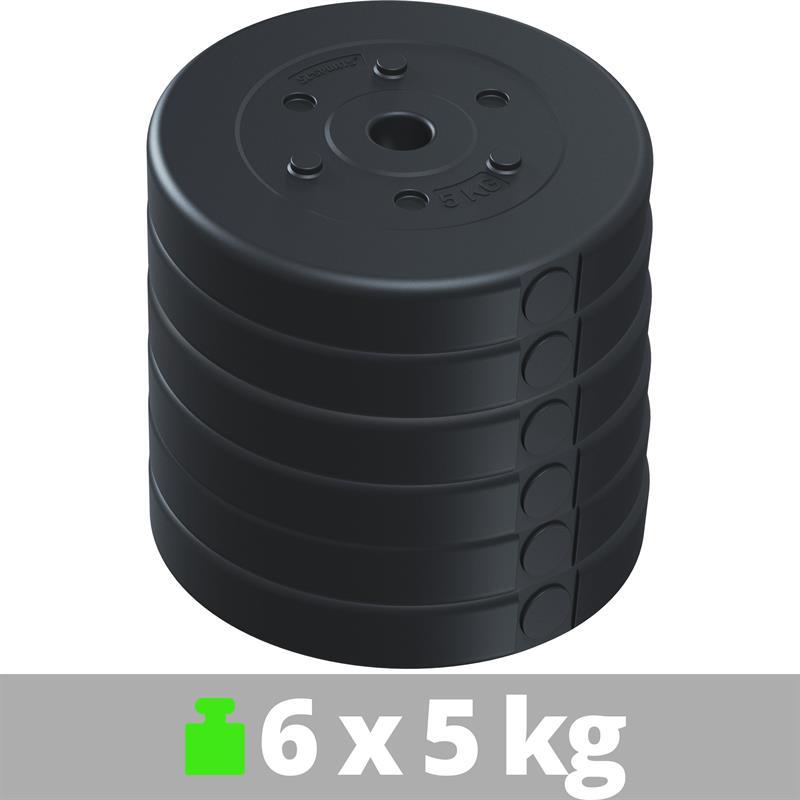 30 kg Hantelscheibenset Kunststoff 6x5 kg Ø 30 mm