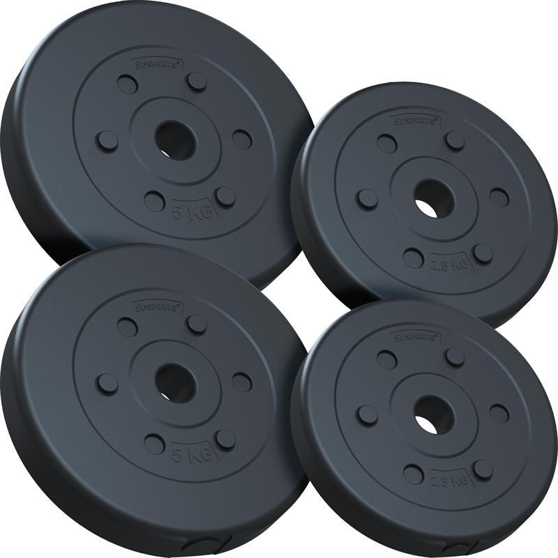 15 kg Hantelscheibenset Kunststoff 2x5 kg 2x2,5 kg Ø 30 mm
