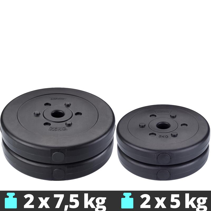 25 kg Hantelscheibenset Kunststoff 2x7,5 kg 2x5 kg Ø 30 mm