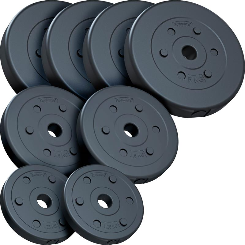 27,5 kg Hantelscheibenset Kunststoff 4x5 kg 2x2,5 kg 2x1,25 kg Ø 30 mm