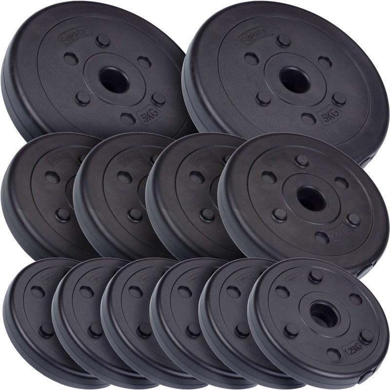 27,5 kg Hantelscheibenset Kunststoff 2x5 kg 4x2,5 kg 6x1,25 kg Ø 30 mm