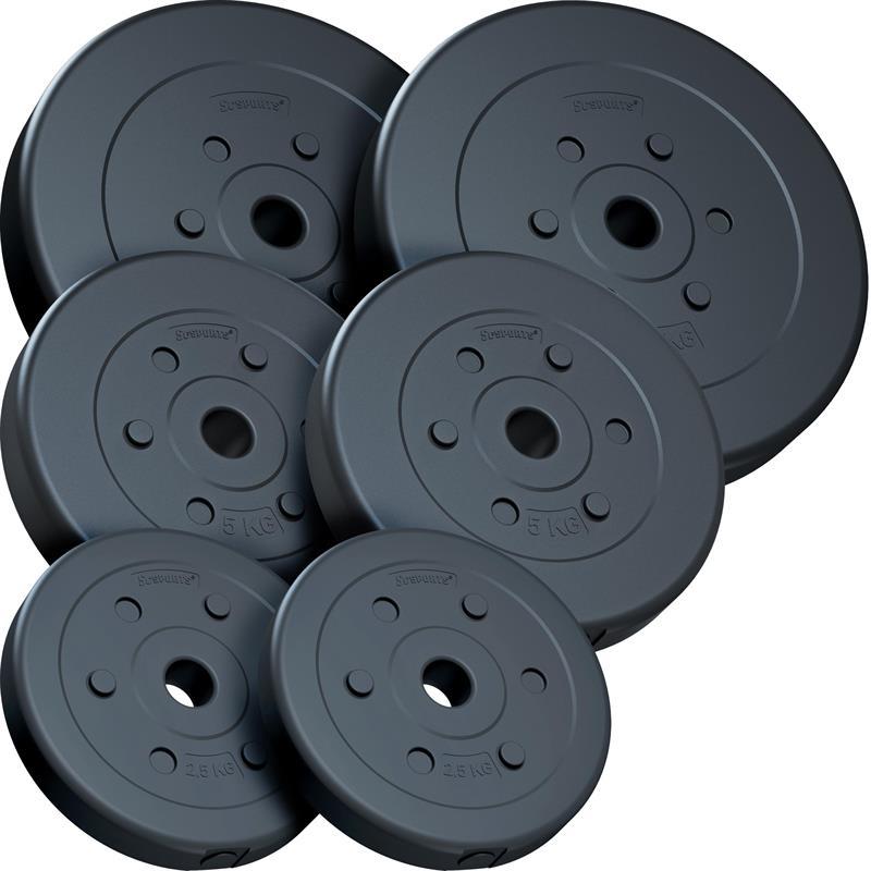 30 kg Hantelscheibenset Kunststoff 2x7,5 kg 2x5 kg 2x2,5 kg Ø 30 mm