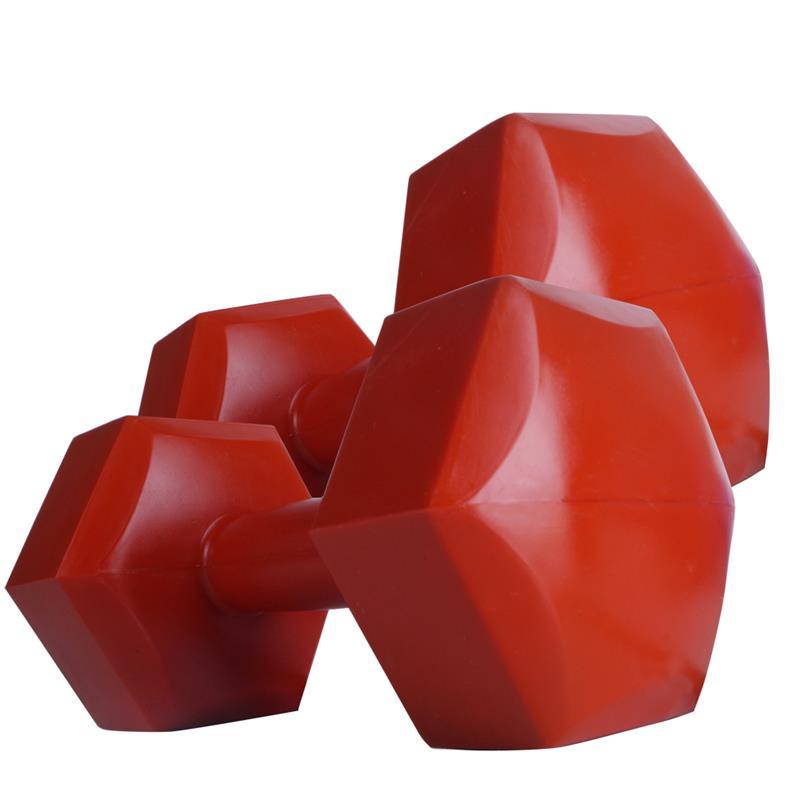 Kunststoffhanteln 2 x 3 kg Hexagon rot