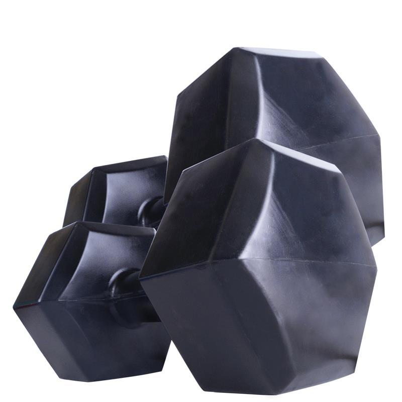 Kunststoffhanteln 2 x 5 kg Hexagon schwarz