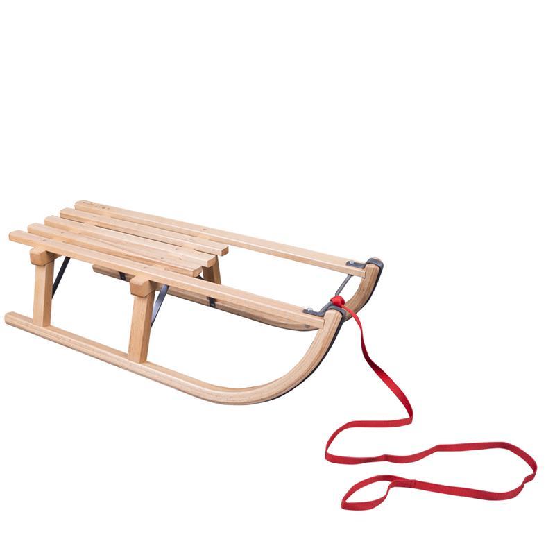Holzschlitten Davos 80 cm + Ziehgurt in rot