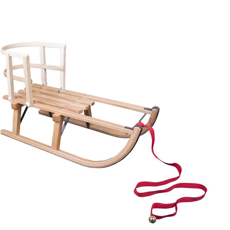 Holzschlitten 80 cm mit Schlittenlehne Holz und Ziehgurt mit Glöckchen