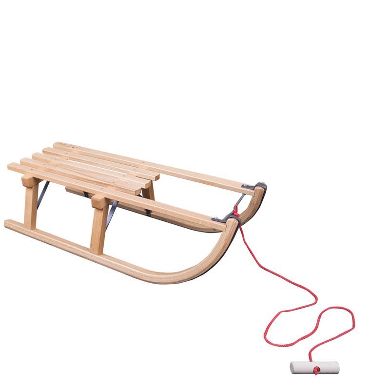 Holzschlitten Davos 80 cmn + Schlittenlehne Holz + Ziehgurt mit Knauf