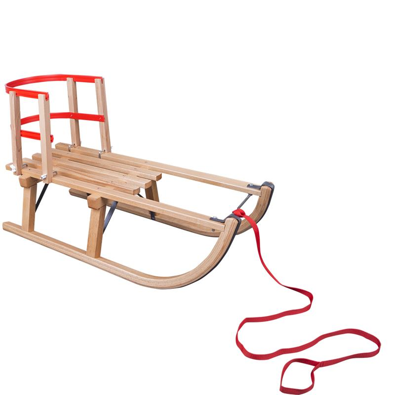 Holzschlitten 80 cm mit Schlittenlehne und Ziehgurt mit Schlaufe