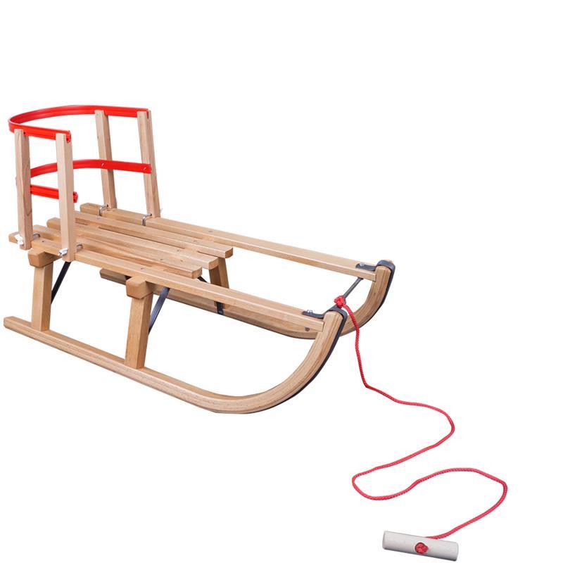 Holzschlitten 80 cm mit Schlittenlehne und Ziehgurt mit Knauf