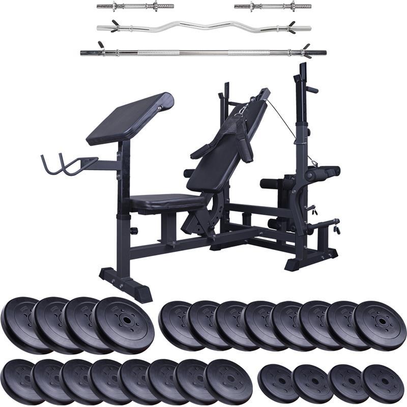 Profi-Trainingsbank mit 150 kg Hantelset