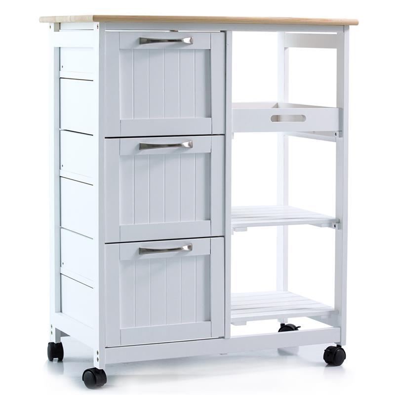 Küchenwagen rollbar mit Arbeitsplatte aus Kiefernholz, Schubladen