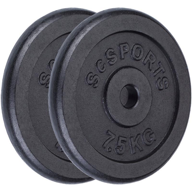 15 kg Halterschijven set 2 x 7,5 kg gietijzer