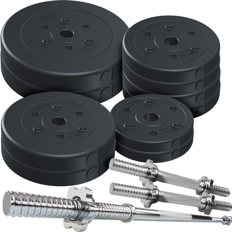 59 kg Hantelset Kunststoff mit 2x10 2x5 4x2,5 2x1,25 kg