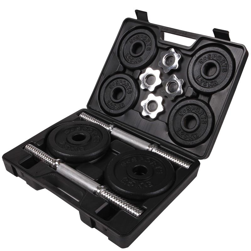 20 kg Kurzhantelset Gusseisen mit schwarzem Koffer