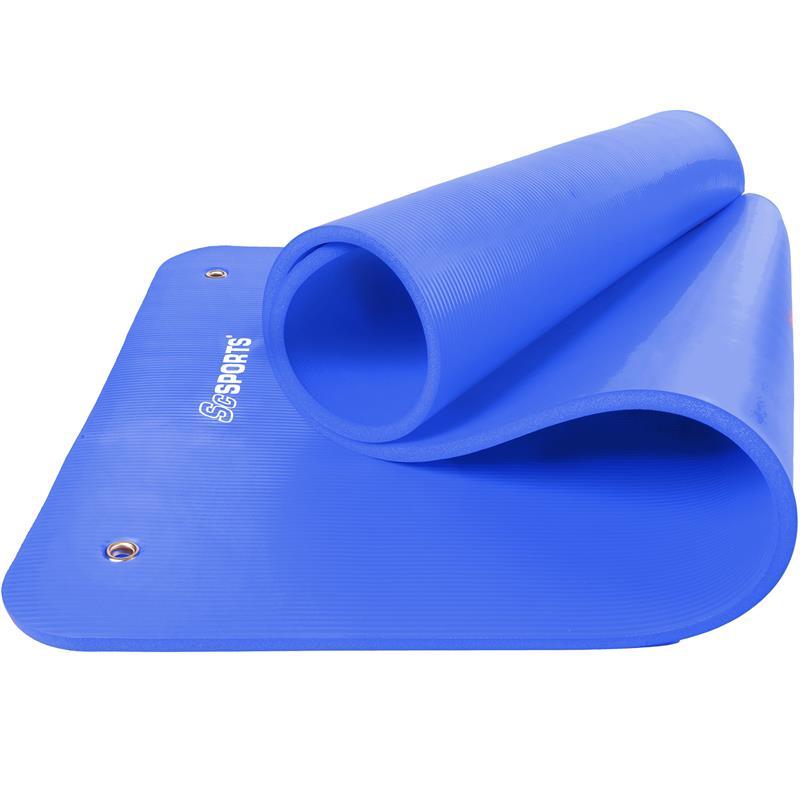 Gymnastikmatte Sportmatte 185 x 80 x 1,5 cm blau mit Ösen