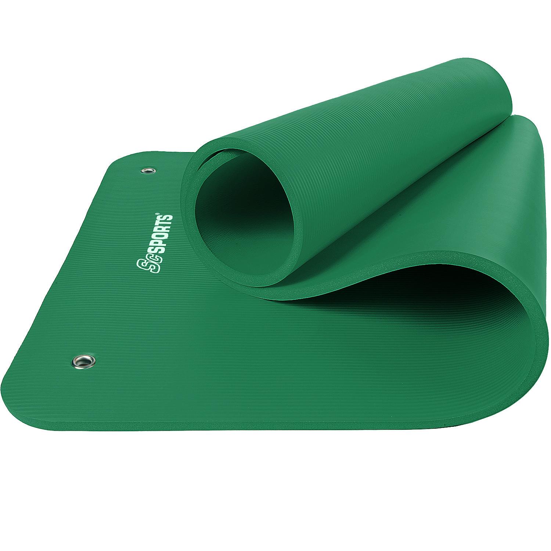 Gymnastikmatte Sportmatte 185 x 80 x 1,5 cm grün mit Ösen