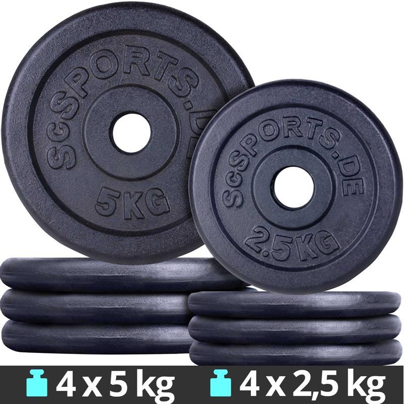 30 kg Hantelscheiben Set Gusseisen 4x5 kg 4x2,5 kg