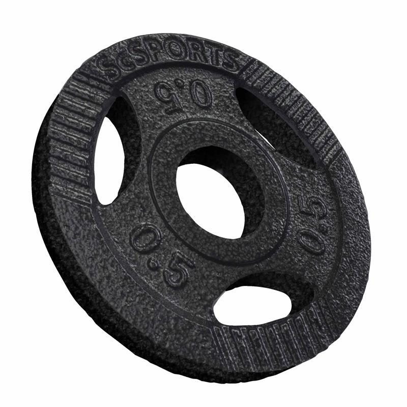 4 x 0,5 kg Hantelscheiben mit Griffen Gusseisen Hammerschlag 30 mm
