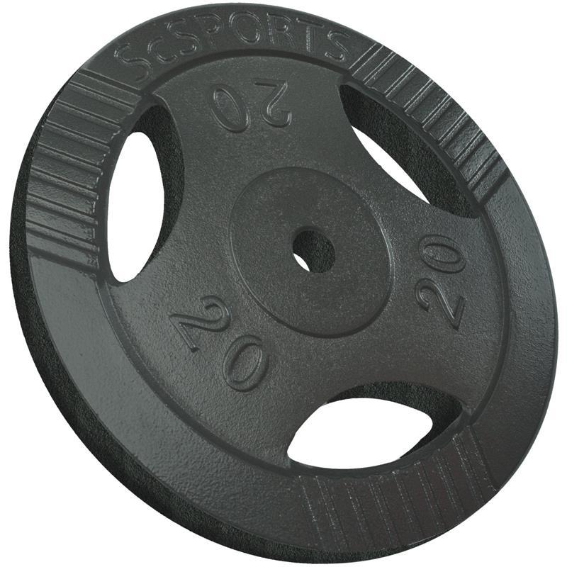 1 x 20 kg Hantelscheibe mit Griffen Gusseisen Hammerschlag 30 mm