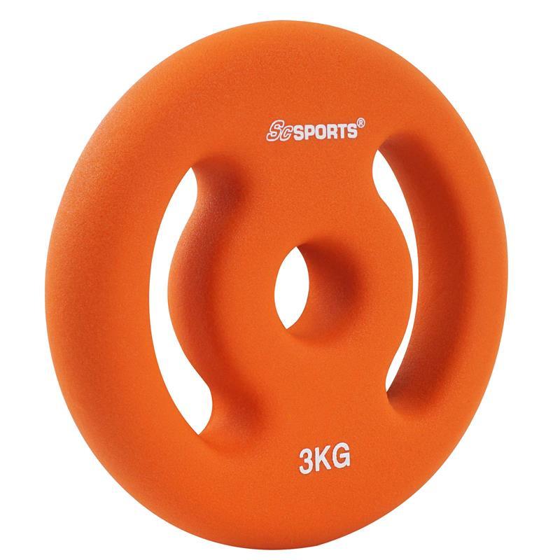 2 x 3 kg Hantelscheiben Neopren Orange mit Griffen Ø 30 mm