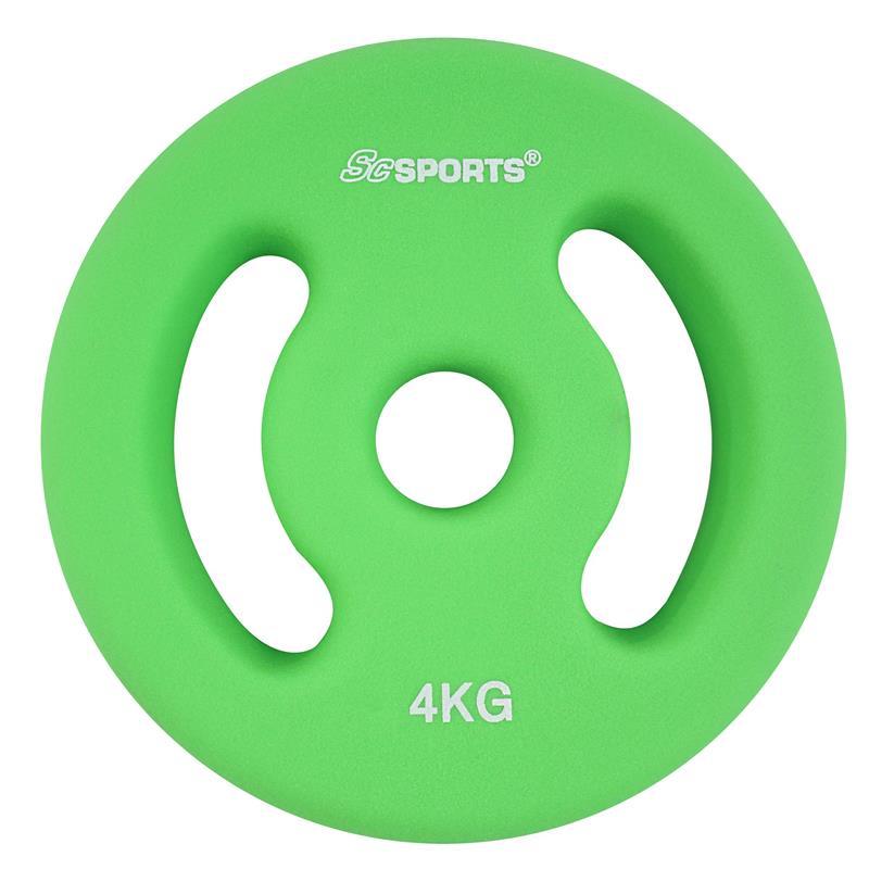 2 x 4 kg Halterschijven neopreen groen met handgrepen Ø 30 mm