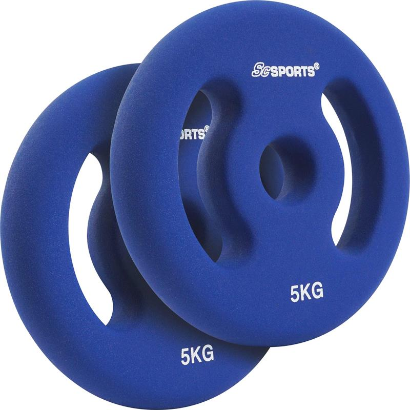 2 x 5 kg Hantelscheiben Neopren Blau mit Griffen Ø 30 mm