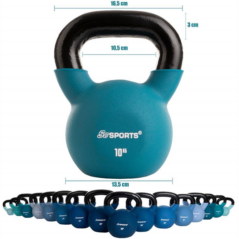 Kettlebell aus Gusseisen mit Neopren-Überzug 10 kg