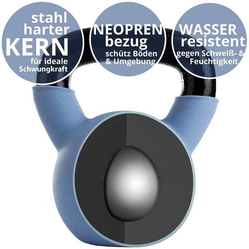 Kettlebell aus Gusseisen mit Neopren-Überzug 14 kg