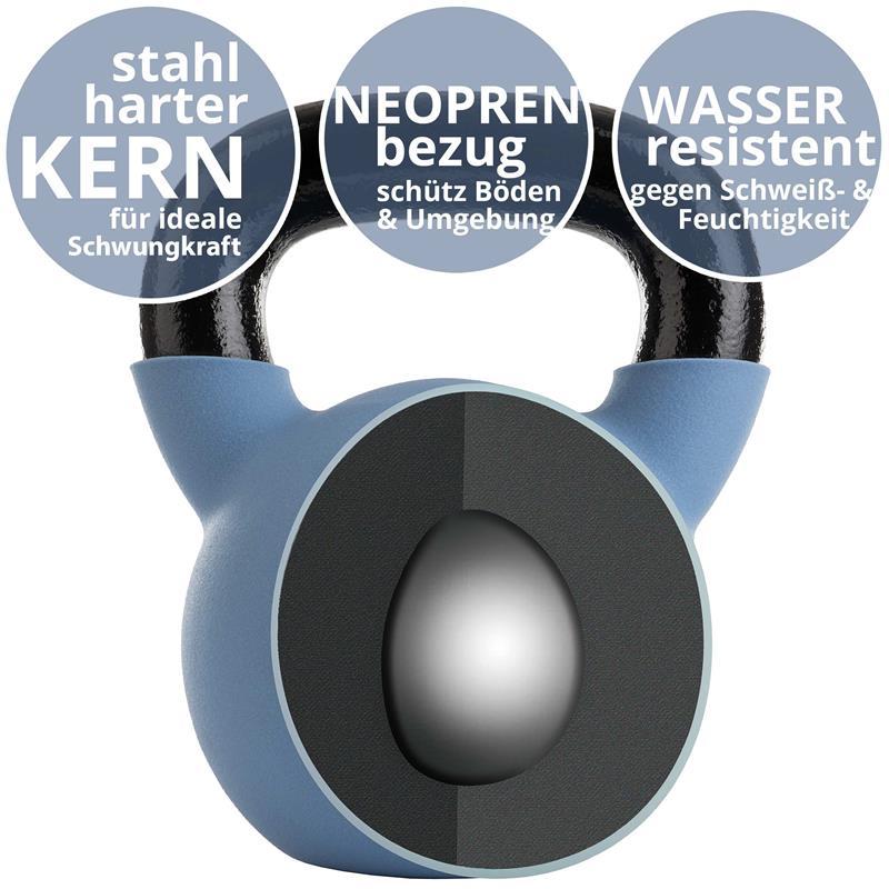 Kettlebell aus Gusseisen mit Neopren-Überzug 16 kg