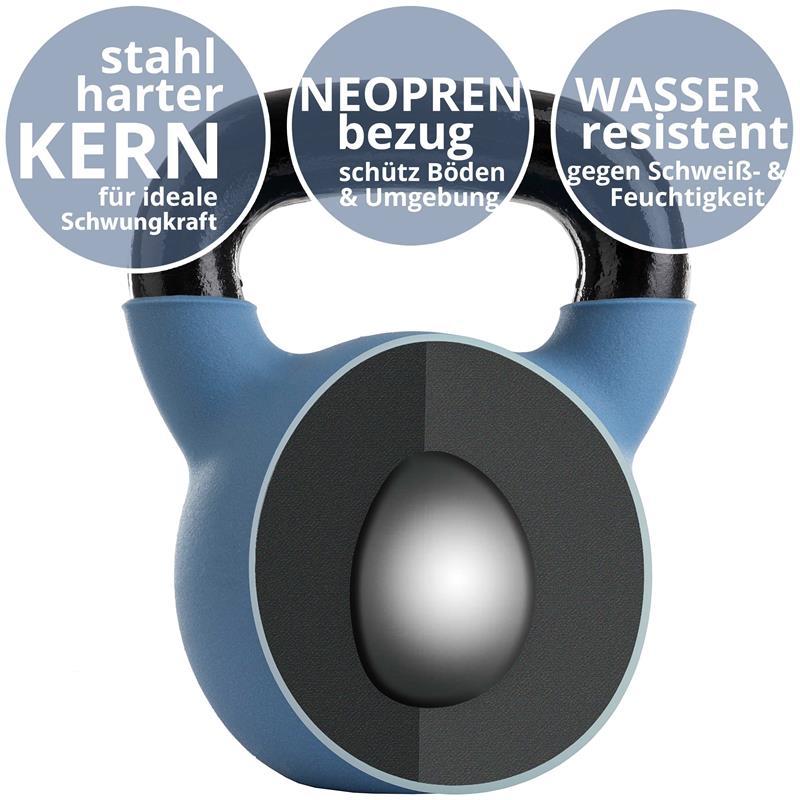Kettlebell aus Gusseisen mit Neopren-Überzug 18 kg