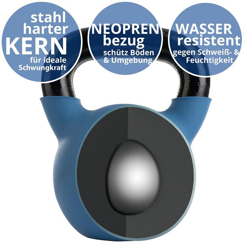 Kettlebell aus Gusseisen mit Neopren-Überzug 20 kg