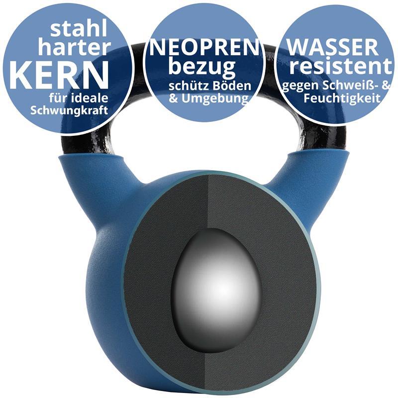 Kettlebell aus Gusseisen mit Neopren-Überzug 22 kg