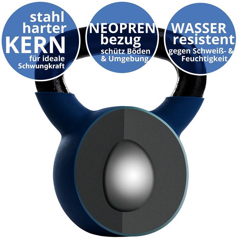 Kettlebell aus Gusseisen mit Neopren-Überzug 28 kg