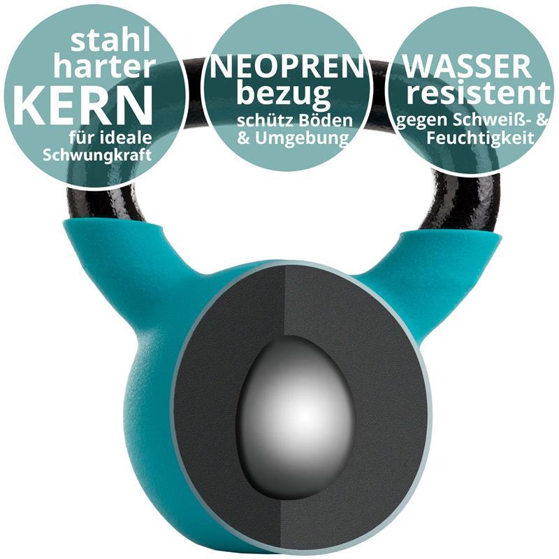Kettlebell aus Gusseisen mit Neopren-Überzug 6 kg