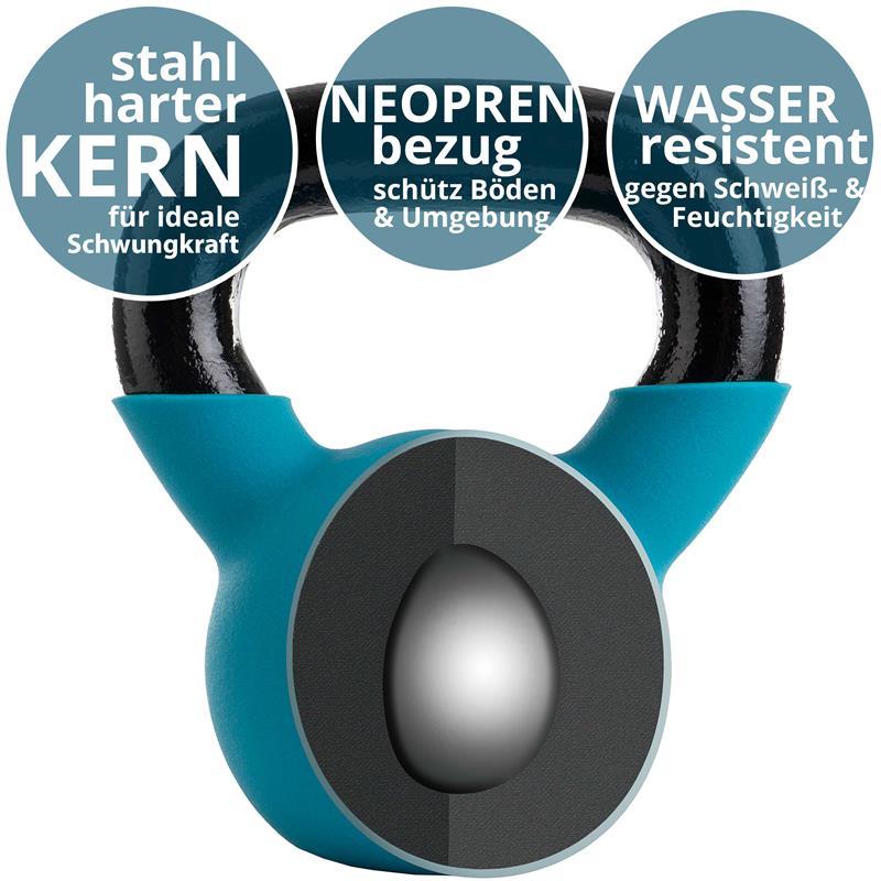 Kettlebell aus Gusseisen mit Neopren-Überzug 8 kg