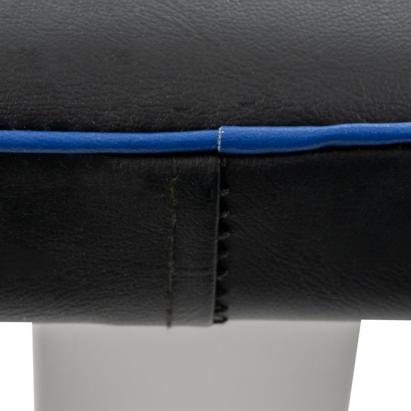 Robuste Hantelbank flach Schwarz, blaue Naht
