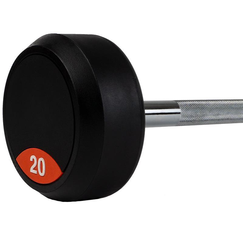 Langhantel mit fixierten Gummi Hantelscheiben 20 kg