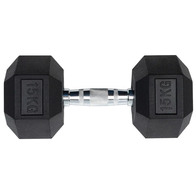 15 kg Kurzhantel mit festen Hexagon Gewichten