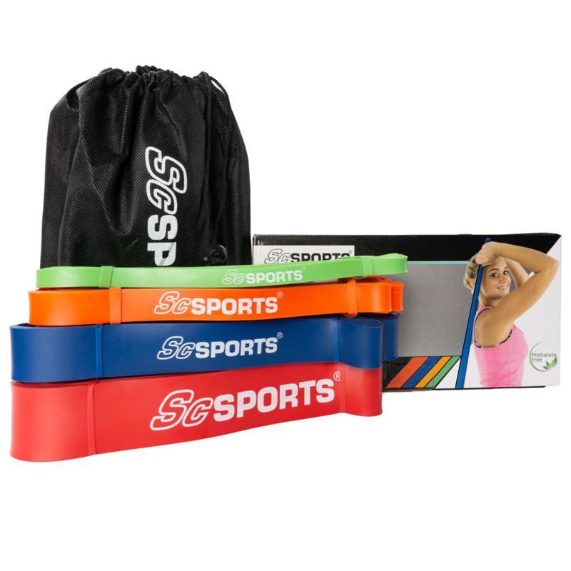 Fitnessbänder 208 cm als 4er Set in verschiedenen Farben und Stärken