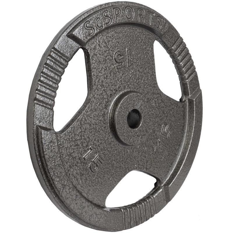 2 x 15 kg Hantelscheiben mit Griffen Gusseisen Hammerschlag 30 mm Grau
