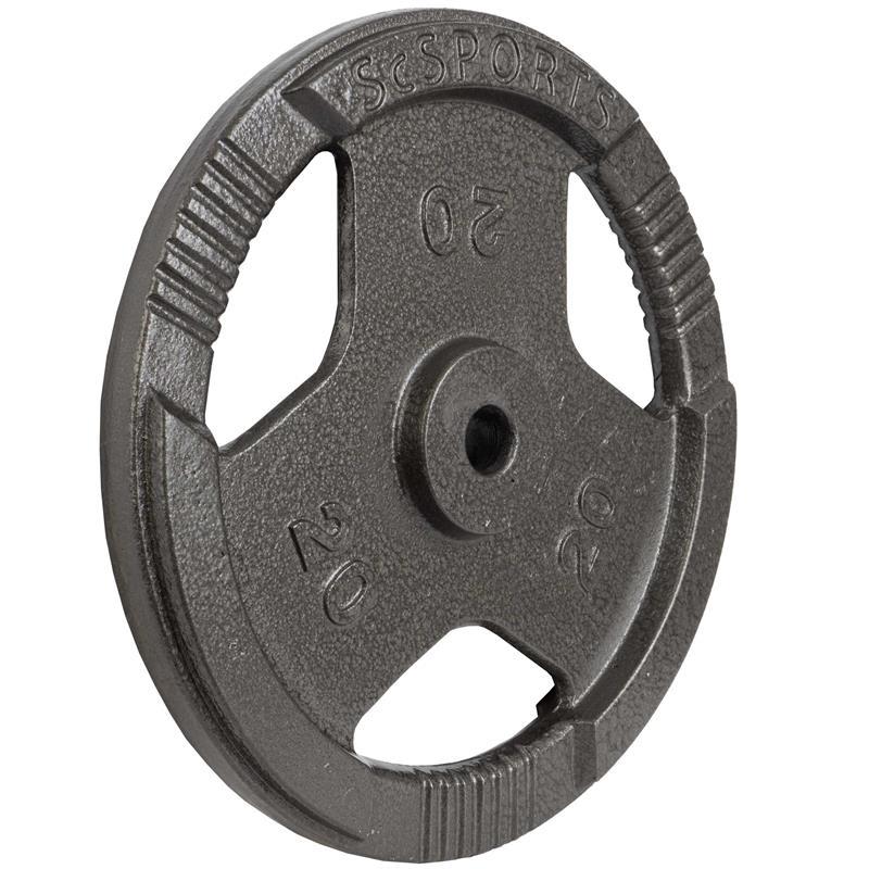 1 x 20 kg Hantelscheibe mit Griffen Gusseisen Hammerschlag 30 mm Grau