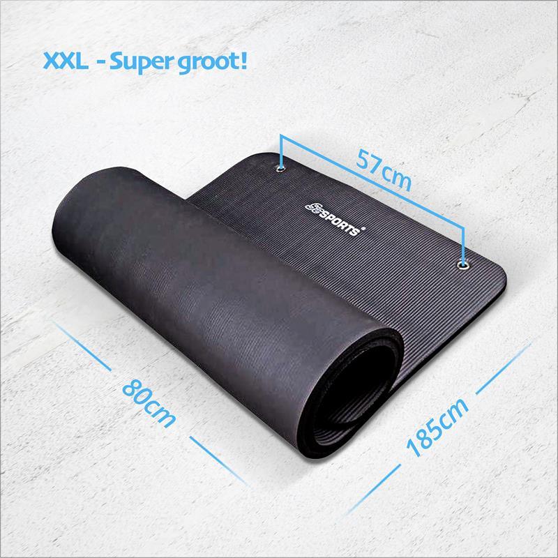 Gymnastiekmat Sportmat 185 x 80 x 4,5 cm zwart met oogjes