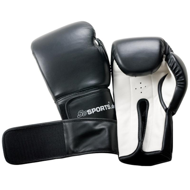 Boxhandschuhe Kunststoff schwarz/weiß 16 oz
