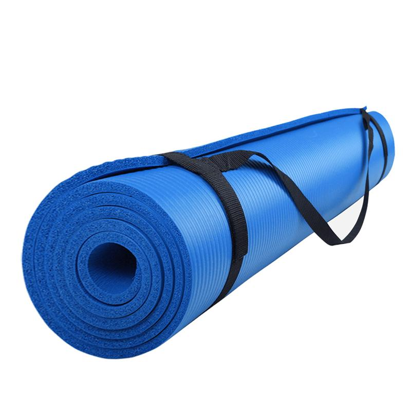 Gymnastikmatte Sportmatte mit Tragegurt 185 x 100 x 1 cm blau