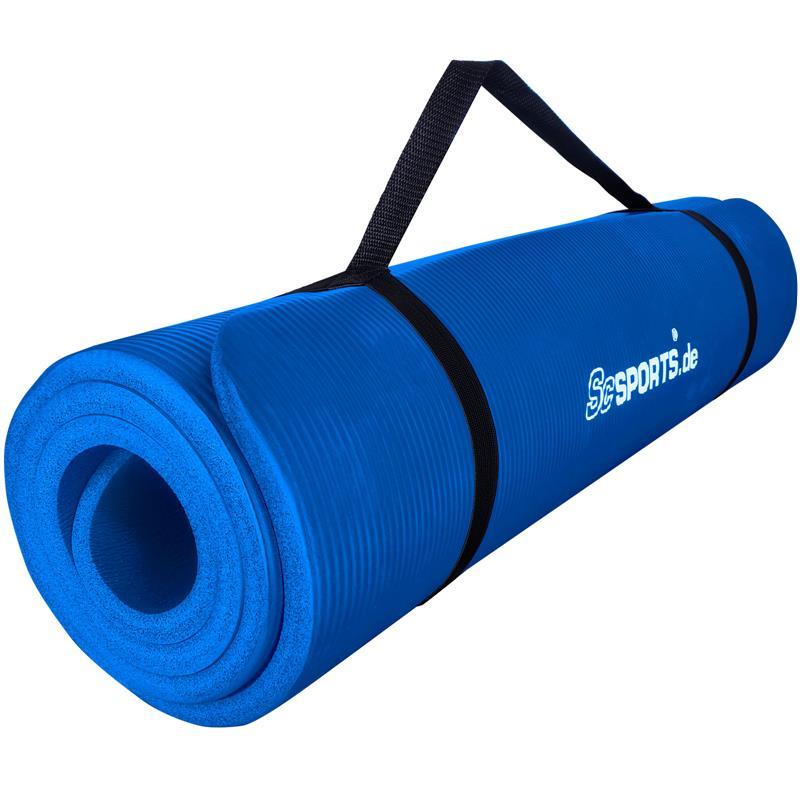 Gymnastikmatte Sportmatte mit Tragegurt 185 x 80 x 1 cm blau